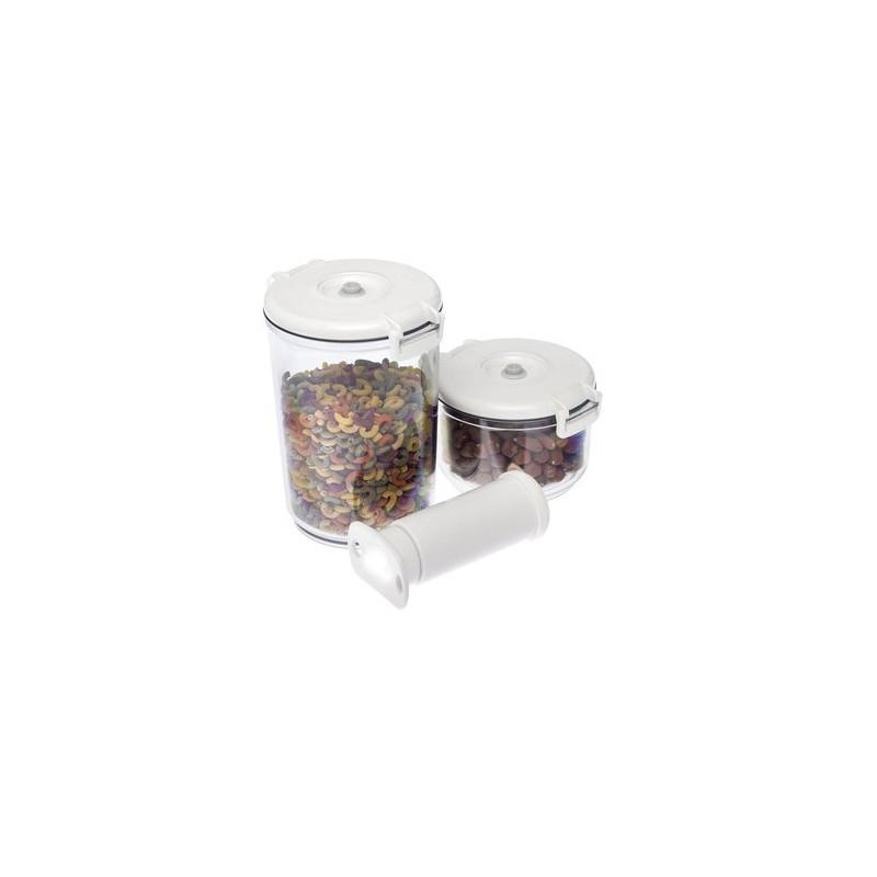 Pack de 2 boîtes rondes plus une pompe manuelle sans BPA