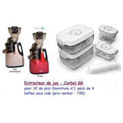 Extracteur de jus GG + 4 boites sous vide Status et pompe manuelle