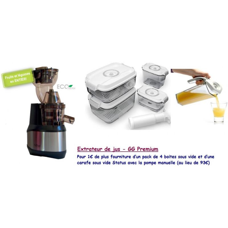 Extracteur de jus GG Premium Inox + 4 boites et 1 carafe sous vide Status et pompe manuelle